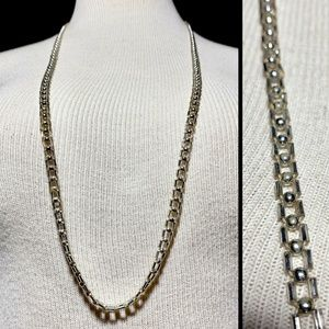 Antique 20s Clear Glass Tube Beaded Long Necklace